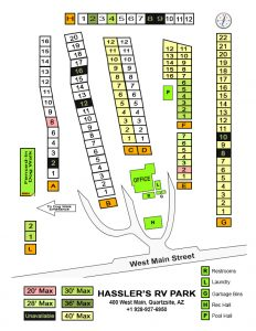 Hassler's RV Park Quartzsite Arizona RV Site Map