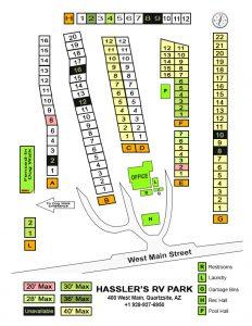 Hassler's RV Park Quartzsite Arizona RV Site Map